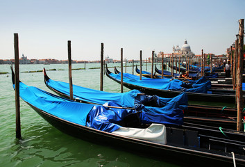 Gondolas moored by Saint Mark square. Venice, Italy, Europe