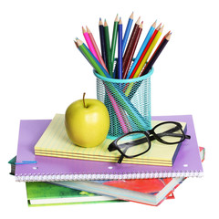School Supplies isolated. An apple, colored pencils and glasses