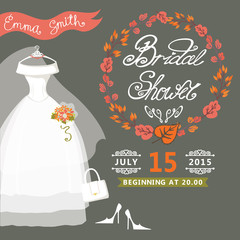 Bridal Shower invitation with autumn wreath,wedding dress