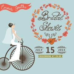 Bridal Shower invitation.Autumn wreath,bride,retro bicycle