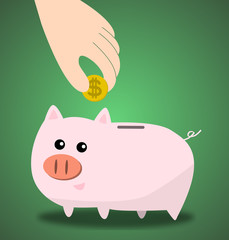 Saving dollars in a piggy bank, vector illustration
