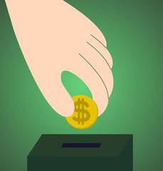 Saving dollars in a saving box, vector illustration