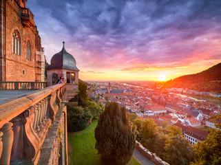 Heidelberg Stadtansicht mit Sonnenuntergang