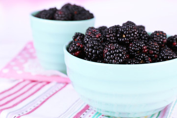 Sweet blackberries in color bowl on  bright background