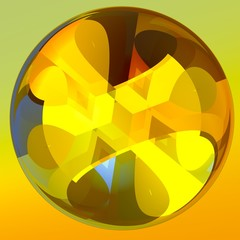 Yellow Abstract Isolated Crystal Ball Illustration