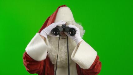 Santa Claus with Binoculars Looking Around