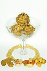 Vegetarian nuts balls mix presentation isolated white