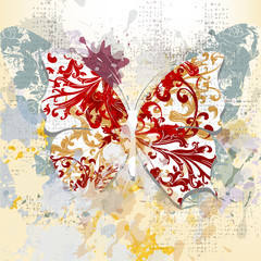 Creative grunge background with butterfly made from swirls and i