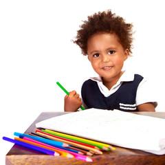 Little black schoolboy