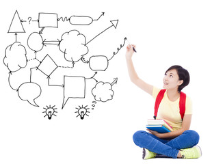 young student girl  hand draw idea and analysis concept diagram