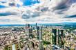 Frankfurt am Main skyline panorama with dramatic clouds, Germany