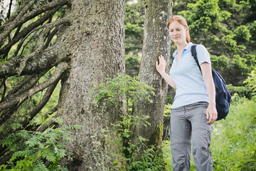 Recreational Hiker in a Forest