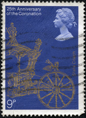 stamp printed in the Great Britain shows Gold State Coach
