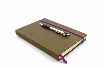 Brown Diary Book with pen.