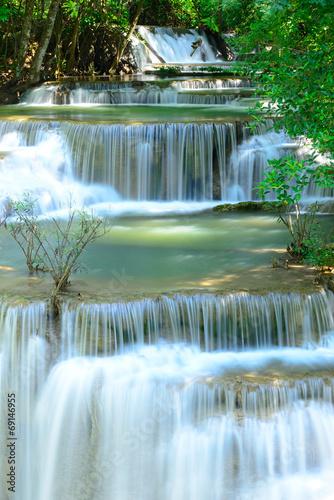 Fototapeta Waterfall in tropical deep forest at Hua Maekhamin
