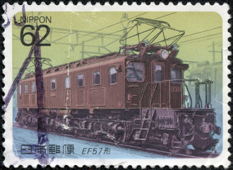 stamp printed in Japan shows Electric Locomotive