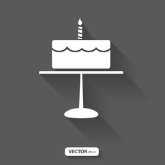 isolate birthday cake on black background, vector illustration