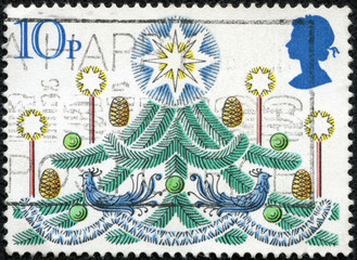 stamp printed in the Great Britain devoted Christmas