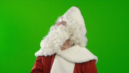 Santa Claus is Making Different Facial Expressions