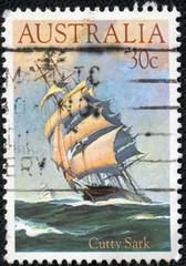 stamp shows Cutty Sark, 1869, Clipper Ship