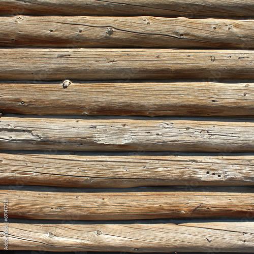 Fotobehang Natuur Park Mur en rondins de bois - Logs wall