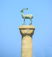 Statue of deer in harbor of Rhodes city -  Rhodes island Greece