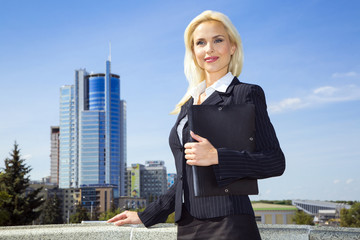 business woman on background of sky