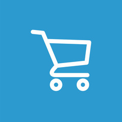 shopping cart icon, white on the blue background .