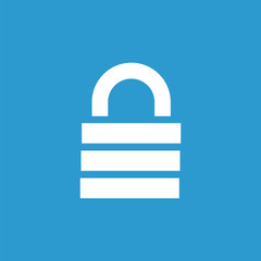 lock icon, white on the blue background .