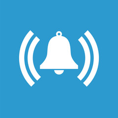 bell icon, white on the blue background .