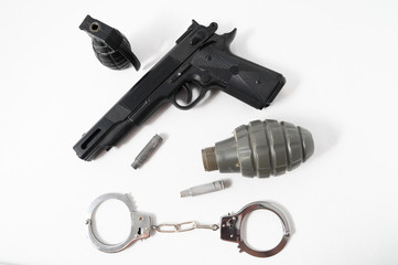 Grenade Bullets Gun and Handcuffs