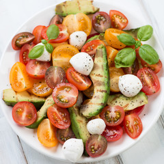 Grilled avocado, tomatoes and mozzarella salad, close-up