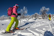 Woman go skiing