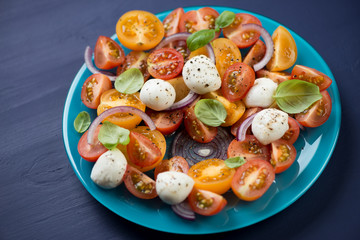 Salad with various types of tomatoes, mozzarella and basil