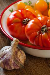 Frische Tomaten in Schale und eine Knoblauchknolle