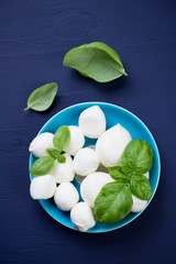 Mozzarella balls with green basil, dark blue wooden background