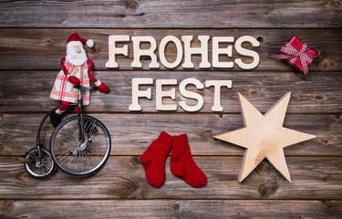 Weihnachtskarte rot mit Text: Frohes Fest