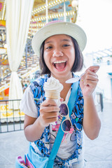 asian girl eating ice cream