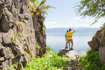 Hikers looking at view