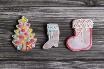 Weihnachten: Lebkuchen Dekoration mit Zuckerguss