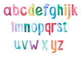 Colorful watercolor aquarelle font type handwritten hand draw - 69150380