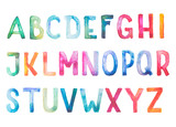 Fototapety Colorful watercolor aquarelle font type handwritten hand draw