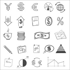 Hand draw business finance doodle sketch money icon, dollar euro