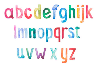 Colorful watercolor aquarelle font type handwritten hand draw