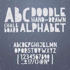 Chalk hand draw doodle abc, alphabet grunge scratch type font