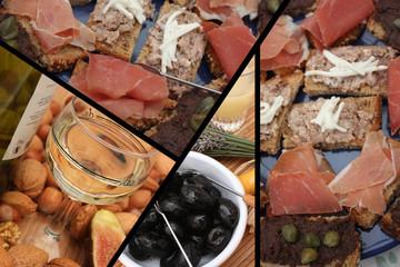 Buffet campagnard : Toasts Jambon Pâté Olives. .