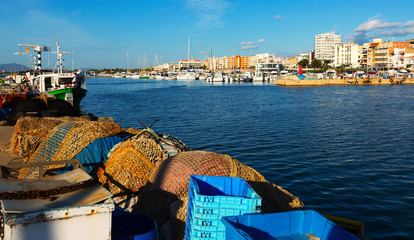 Seaside of mediterranean town from fishing port. L'Ampolla