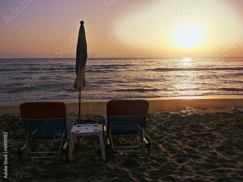 canvas print picture Tramonto sulla spiaggia