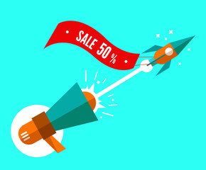 Rocket with sale tag launching from megaphone. Digital marketing