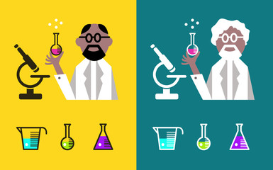 Scientist Holding A Flask With Fluids. flat character design.